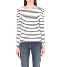 French Connection Tim Tim Striped Stretch Cotton Top White Navy