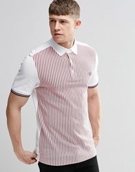 Fred Perry Polo Shirt With Vertical Stripe Slim Fit White