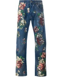 Gucci Floral Painted Stone Wash Jeans Denim Stone Multi Coloured