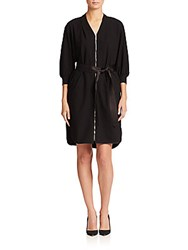 Lafayette 148 New York Saralyn Belted Zip Front Dress Black