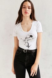 Truly Madly Deeply Illustrated Flower Tee Ivory