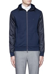 Armani Collezioni Tech Fabric Sleeve And Hood Blouson Jacket Blue