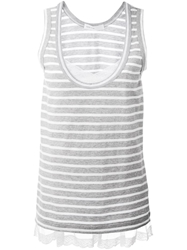 Sacai Luck Lace Hem Striped Tank Top Grey