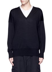 Sulvam Relaxed Fit V Neck Wool Sweater Black