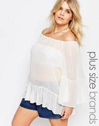 Alice And You Off The Shoulder Folk Blouse White