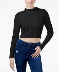 Guess Ribbed Crop Top Jet Black