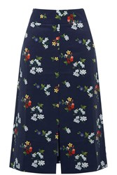 Warehouse Spaced Floral Midi Skirt Navy