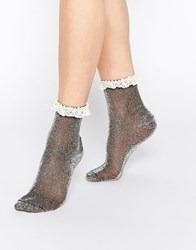 Asos Lace Trim Ankle Socks Black