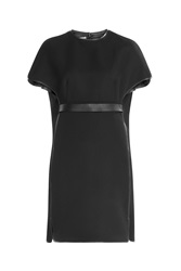 Valentino Cape Dress With Virgin Wool Silk And Leather Black