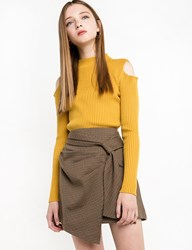 Pixie Market Mustard Yellow Cold Shoulder Ribbed Top