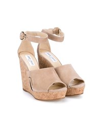 Jimmy Choo Neyo 120 Suede Cork Cutout Wedges