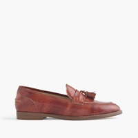 J.Crew Biella Crackled Leather Loafers Warm Sepia