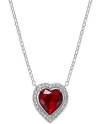 Danori Silver Tone Red Crystal Heart Necklace