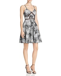 Aqua Sheer Inset Floral Fit And Flare Dress White Black