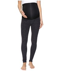 Beyond Yoga Fold Down Maternity Long Leggings Black Steel Spacedye Women's Workout