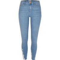 River Island Womens Light Blue Wash Chewed Hem Molly Jeggings