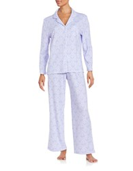 Karen Neuburger Long Sleeved Button Tee And Pajama Pants Set Purple