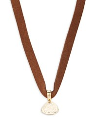 Design Lab Lord And Taylor Hammered Pendant Choker Necklace Gold