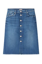 Mother High Waisted Button Front Jean Skirt Blue