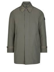 Aquascutum London Kirkman Zip Front Single Breasted Trench Green