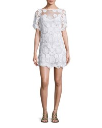 Miguelina Grace Crochet Overlay Coverup Dress Pure White