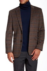 Us Polo Assn. Beige And Black Plaid Modern Fit Two Button Notch Collar Double Vent Wool Blend Sport Coat Brown