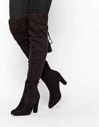 Missguided Heeled Over The Knee Boot With Lace Up Back Black