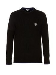 Kenzo Logo Applique Crew Neck Sweater Black