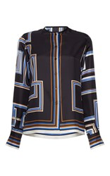Martin Grant Labyrinth Print Long Sleeve Silk Shirt