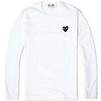 Comme Des Garcons Play Long Sleeve Tee White And Black