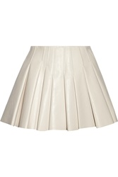 Alexander Wang Pleated Leather Mini Skirt White