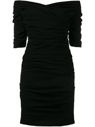 Dolce And Gabbana Ruched Cocktail Dress Black