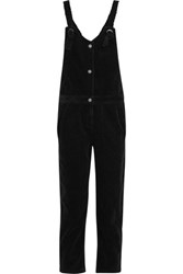 Steve J And Yoni P Cropped Cotton Corduroy Overalls Black