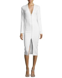 Veronica Beard Firefly Long Sleeve Ponte Sheath Dress Ivory