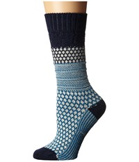 Smartwool Popcorn Cable Deep Navy Women's Crew Cut Socks Shoes