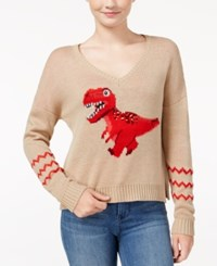 Almost Famous Juniors' Sequin T Rex Graphic Sweater Heather Oatmeal