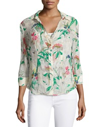 Paperwhite Floral Print Semi Sheer Blouse Multi