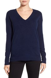 Halogenr Women's Halogen V Neck Cashmere Sweater Navy Peacoat
