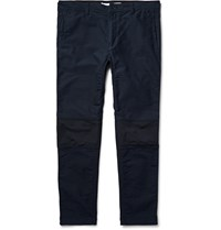 White Mountaineering Slim Fit Panelled Cotton Blend And Stretch Jersey Trousers Navy