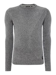 Only And Sons Men's Chunky Knit Crew Neck Jumper Grey