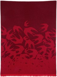 Mcq By Alexander Mcqueen Red Wool Swallow Scarf