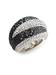 Appolon Swarovski Crystal Dome Ring Silver Black