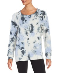 Kensie Lace Trim Tie Dyed Sweatshirt White Multi