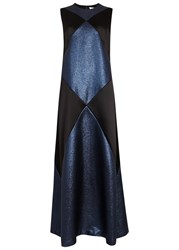 Tory Burch Holloway Satin And Lurex Gown Navy