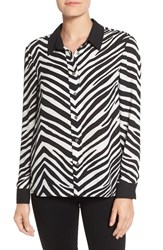 Vince Camuto Women's Zebra Stripe Long Sleeve Blouse Rich Black