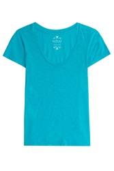 Velvet Cotton T Shirt Turquoise