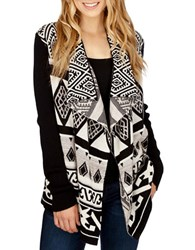 Lucky Brand Draped Open Front Cardigan Black Multi