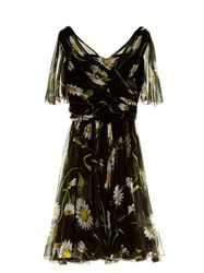 Dolce And Gabbana Margherite Print Short Sleeve Chiffon Dress