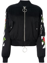 Off White Rose Detail Bomber Jacket Black