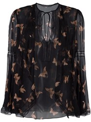 Alexander Mcqueen Moth Embroidered Blouse Black